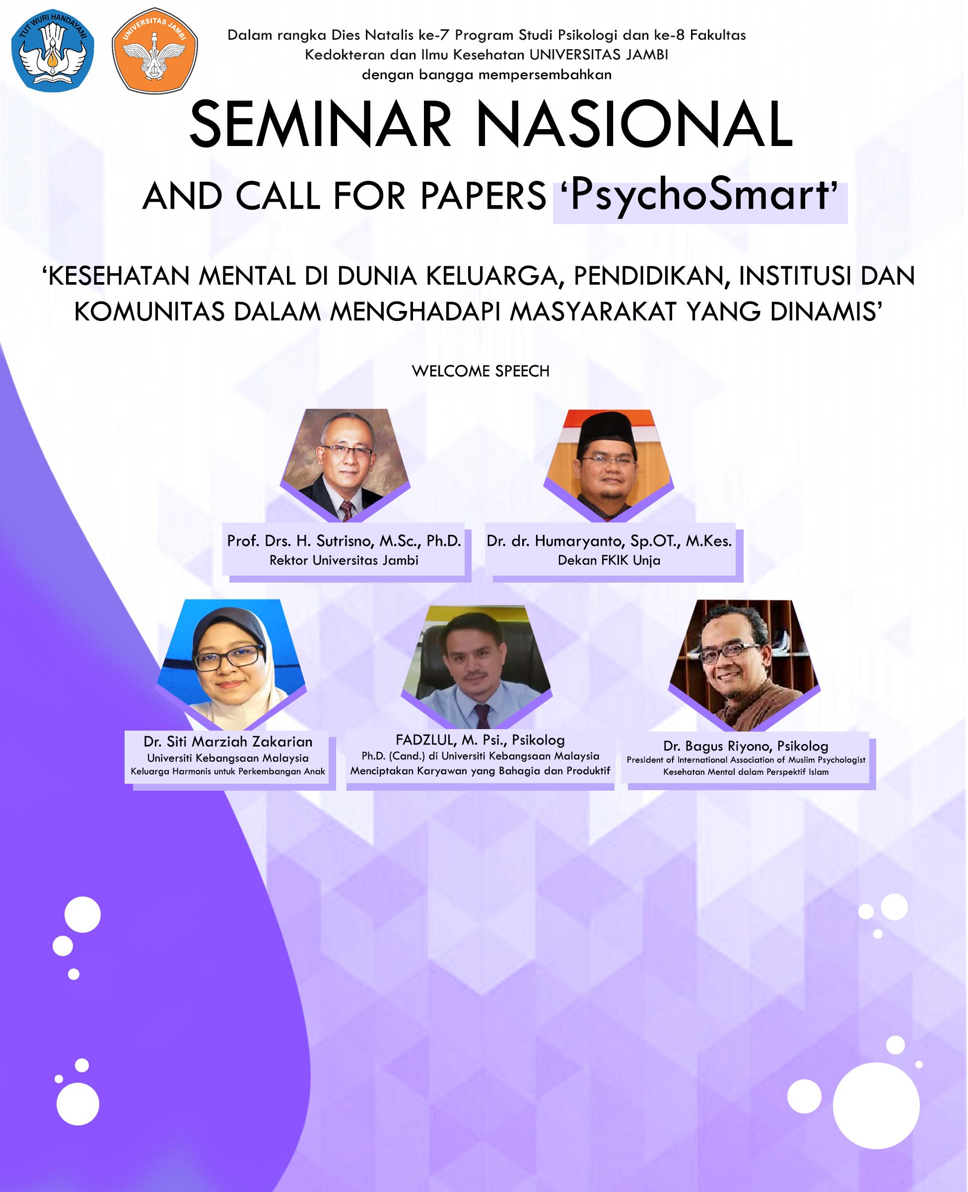 Seminar Nasional & Call For Paper Psikologi Unja 2020